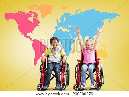 Digital composite of Disabled boy and girl in wheelchairs in front of colorful world map