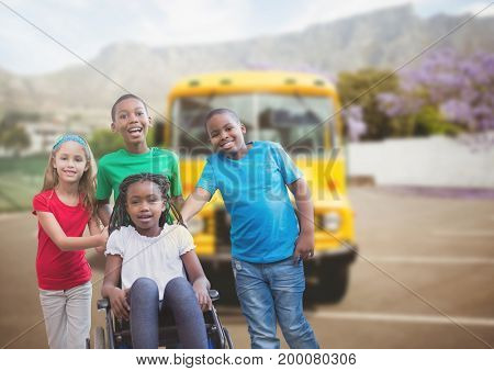 Digital composite of Disabled girl in wheelchair with friends in front of school bus