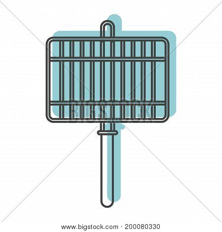 Blue grill icon in doodle style. Illustration of grill vector icon isolated on white background for web labels  and advertising