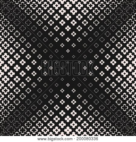 Vector seamless pattern, halftone geometric texture with different floral shapes, carved crosses. Abstract monochrome background, gradually transition visual effect. Dark design for prints, decoration. Cross pattern, halftone pattern, x pattern
