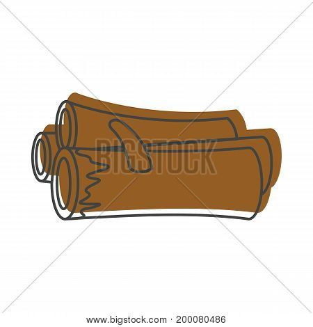 Firewood icon in doodle style isolated on white background for design and web vector illustration