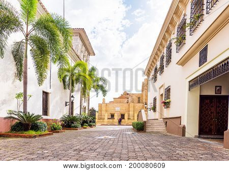 View of the historic street of the city Santo Domingo Dominican Republic. Copy space for text