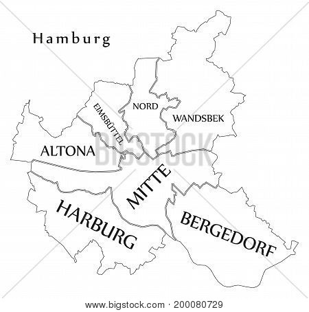 Modern City Map - Hamburg City Of Germany With Boroughs And Titles De Outline Map
