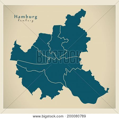 Modern City Map - Hamburg City Of Germany With Boroughs De