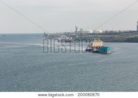 Beautiful View Of The City, Sea And Ship