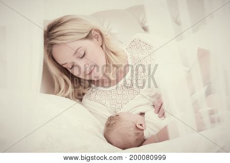 breast feeding. Mother with baby. feeding
