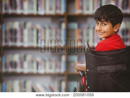 Digital composite of Disabled boy in wheelchair in school library