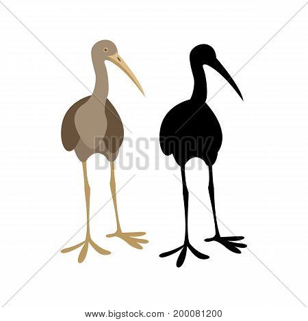 limpkin crane bird   vector illustration  black silhouette