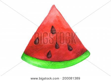 Watermelon painted with a watercolor and colored pencils