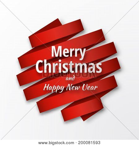 2018 vector template. Merry Christmas and Happy New Year background with red ribbon and text.