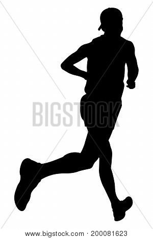 athlete runner in cap running marathon illustration