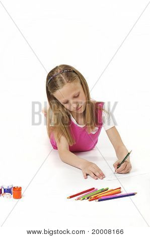 Girl Draws Pencil On Paper