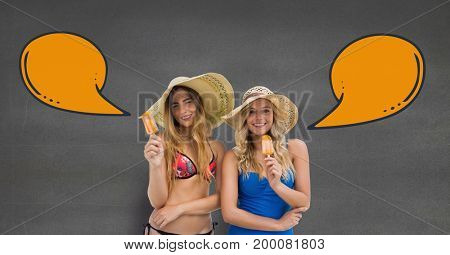 Digital composite of Happy women with speech bubbles eating ice cream against grey background