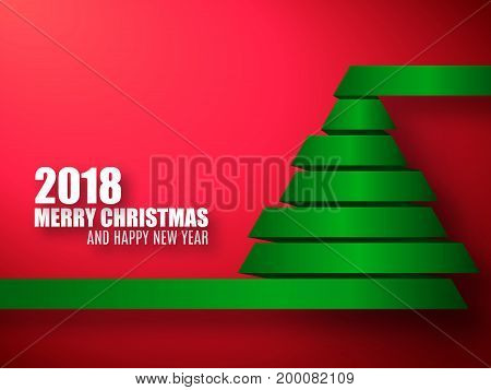 2018 vector template. Merry Christmas and Happy New Year red background with green 3d Xmas tree.