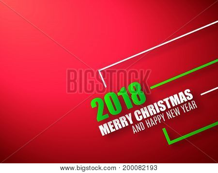 Merry Christmas and Happy New Year red background. 2018 celebrate background with white 3d text.