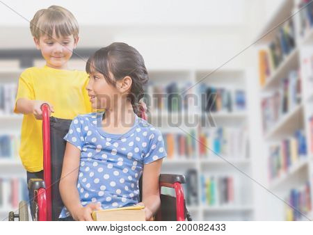 Digital composite of Disabled girl in wheelchair with friend in school library