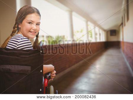Digital composite of Disabled girl in wheelchair in school corridor