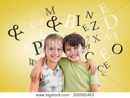 Digital composite of Many letters around Boy and girl hugging in front of yellow background