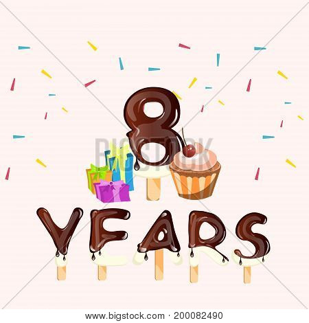 Happy Birthday eight 8 years greeting card. Vector illustration