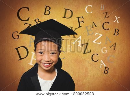 Digital composite of Many letters around Girl in graduation wear with rustic background