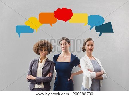 Digital composite of Business women with speech bubble against grey background