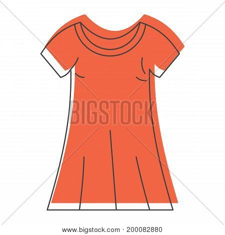 Orange dress in doodle style icons vector illustration for design and web isolated on white background. Orange dress vector object for labels and logo