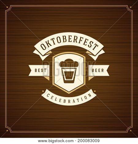 Oktoberfest beer festival celebration vintage greeting card or poster and wooden background vector illustration.