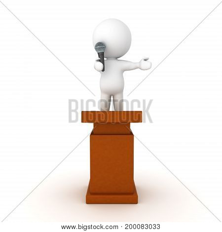 3D Character standing on top of a lectern and speaking on microphone. Isolated on white.