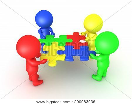 3D Multi colored characters holding puzzle pieces that fit. Image symbolizing teamwork and compatibility.