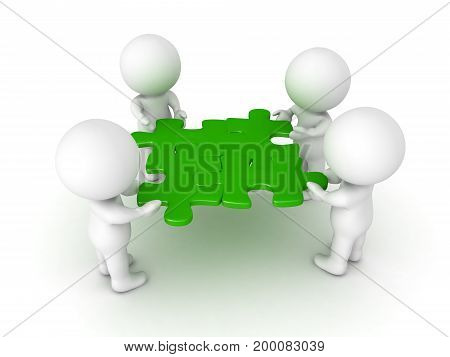 3D Characters holding four green puzzle pieces. Image symbolizing teamwork.
