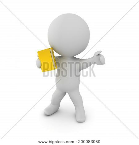 3D Character holding a book as a weapon and pointing in front. Truth versus ignorance concept.