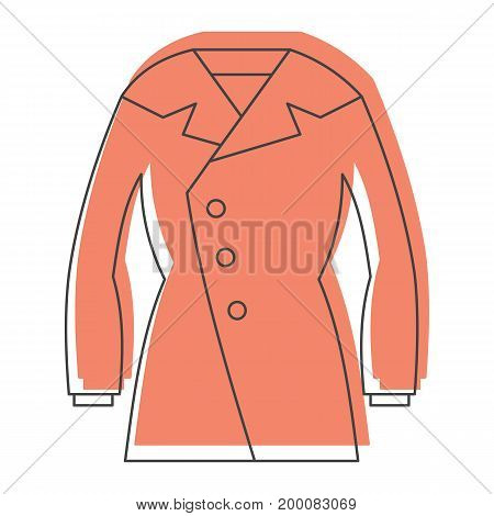 Overcoat in doodle style icons vector illustration for design and web isolated on white background. Overcoat vector object for labels and logo