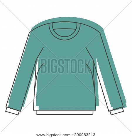 Shirt with long sleeves in doodle style icons vector illustration for design and web isolated on white background. Shirt with long sleeves vector object for labels and logo