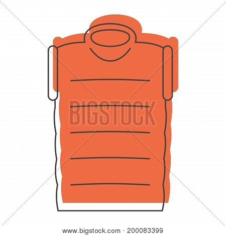 Orange down jacket in doodle style icons vector illustration for design and web isolated on white background. down jacket vector object for labels and logo