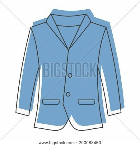 Blue jacket in doodle style icons vector illustration for design and web isolated on white background. Blue jacket object for labels and logo