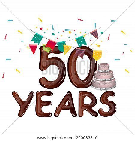 Happy Birthday fifty 50 year. Vector illustration