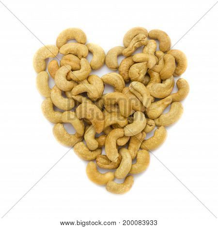 Heart Cashew Nuts Isolated On White Background. Concept Food Image Love Cashew Nuts.