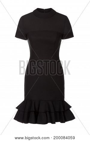 Little black dress with rhinestones isolated on white