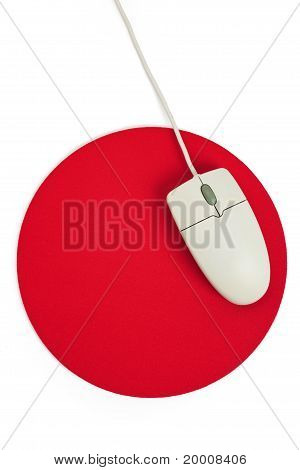 Computer Mouse And Red Mouse Pad