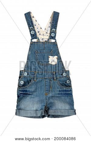 Children denim overalls isolated on white background