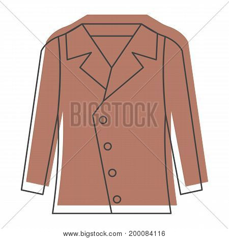 Brown jacket in doodle style icons vector illustration for design and web isolated on white background. Brown jacket object for labels and logo