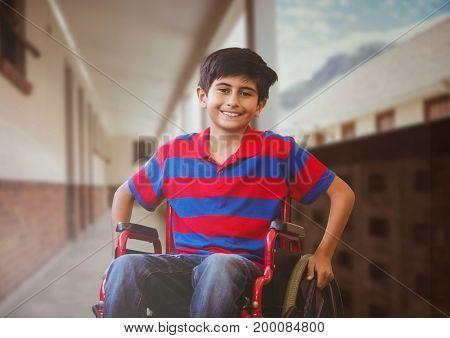 Digital composite of Disabled boy in wheelchair in school corridor