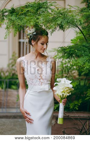 Beautiful Bride In A Wedding Dress For A Walk On The Street
