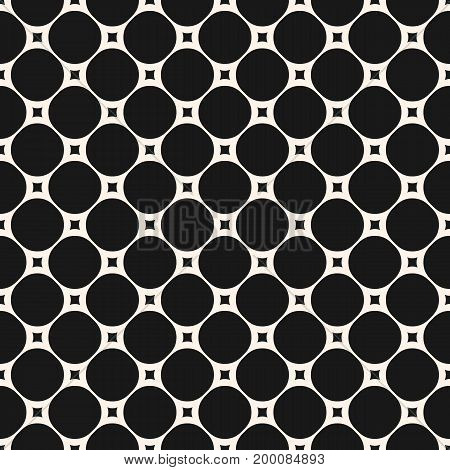 Vector seamless pattern with circles and squares. Modern black & white geometric background. Simple abstract monochrome texture. Repeat design for prints, decoration, textile, fabric, cloth, digital.