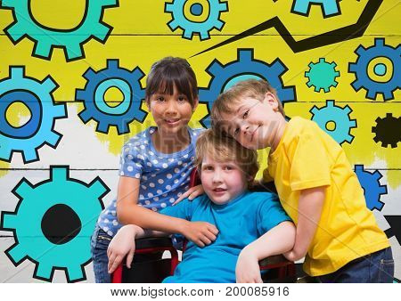 Digital composite of Disabled boy in wheelchair with friends and colorful settings cog gears