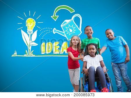 Digital composite of Disabled girl in wheelchair with friends with colorful idea graphic drawings