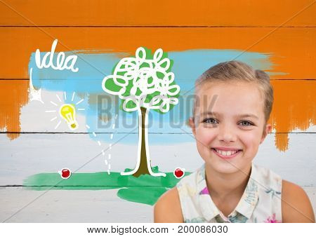 Digital composite of Girl in front of colorful idea graphics on orange painted wall