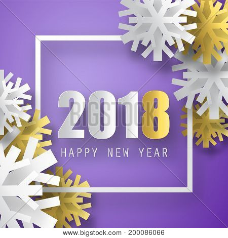 2018 vector background. Happy New Year greeting card with 3d snowflakes. Christmas poster.