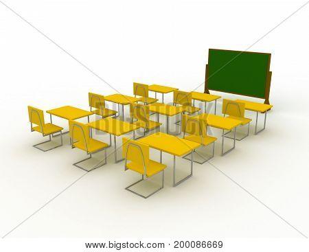 classroom concept . education . 3d rendered illustation