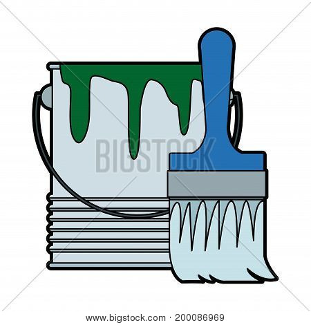 paint brush and bucket can construction vector illustration